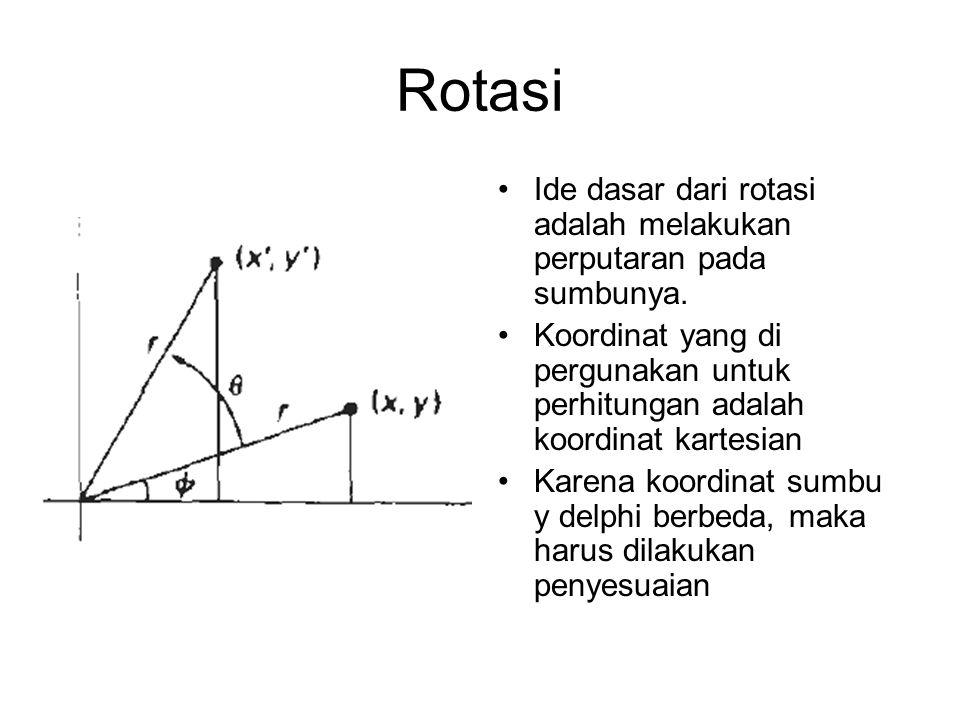 Rotasi Ide dasar dari rotasi adalah melakukan perputaran pada sumbunya. Koordinat yang di pergunakan untuk perhitungan adalah koordinat kartesian Kare