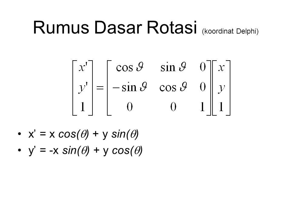 Rumus Dasar Rotasi (koordinat Delphi) x' = x cos(  ) + y sin(  ) y' = -x sin(  ) + y cos(  )