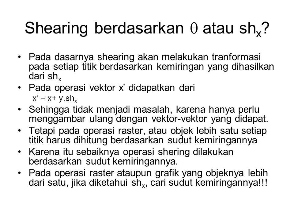 Shearing berdasarkan  atau sh x ? Pada dasarnya shearing akan melakukan tranformasi pada setiap titik berdasarkan kemiringan yang dihasilkan dari sh