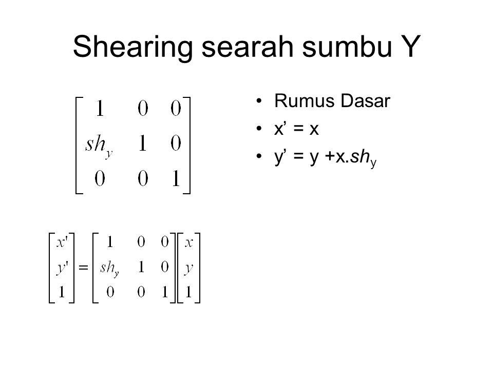 Shearing searah sumbu Y Rumus Dasar x' = x y' = y +x.sh y