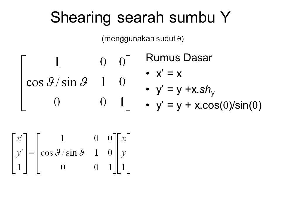 Shearing searah sumbu Y (menggunakan sudut  ) Rumus Dasar x' = x y' = y +x.sh y y' = y + x.cos(  )/sin(  )