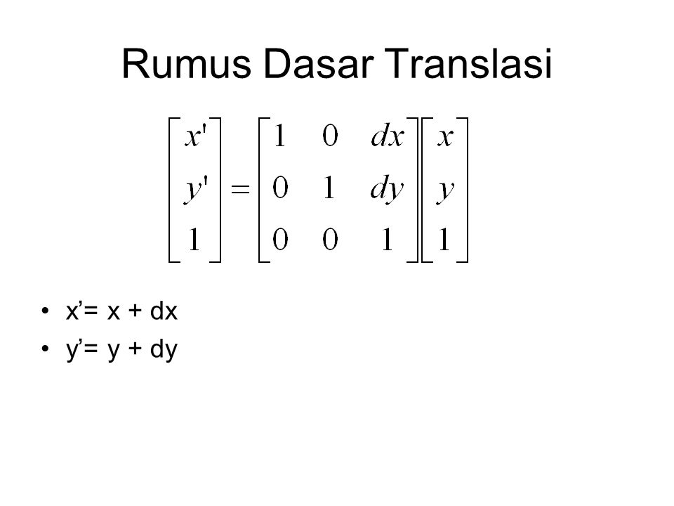 Rumus Dasar Translasi x'= x + dx y'= y + dy