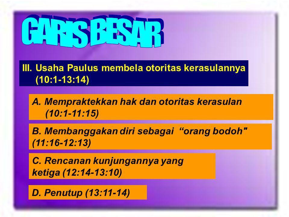 Outline II. Pengumpulan persembahan bagi orang Kudus di Yerusalem(8:1-9:15) A. Pentingnya kemurahan (8:1-15) B. Misi Perjalanan Titus dan teman-temann