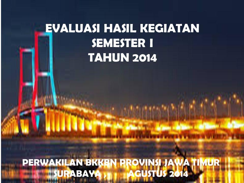 EVALUASI HASIL KEGIATAN SEMESTER I TAHUN 2014 PERWAKILAN BKKBN PROVINSI JAWA TIMUR SURABAYA, AGUSTUS 2014