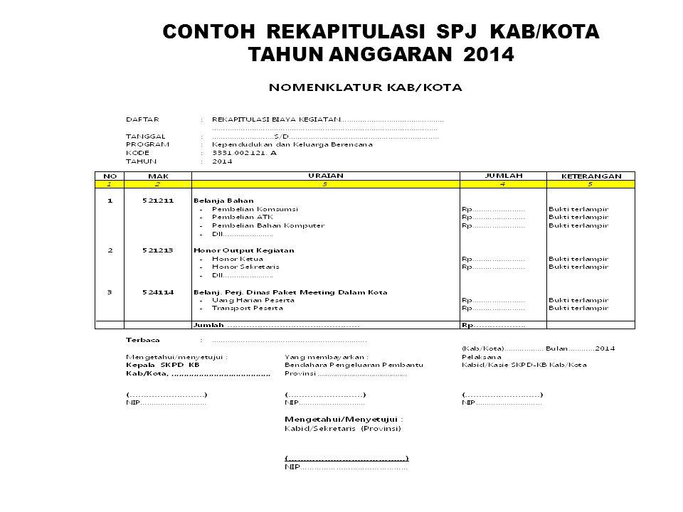 CONTOH REKAPITULASI SPJ KAB/KOTA TAHUN ANGGARAN 2014