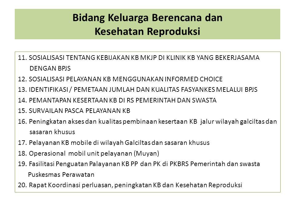Bidang Keluarga Berencana dan Kesehatan Reproduksi 11.SOSIALISASI TENTANG KEBIJAKAN KB MKJP DI KLINIK KB YANG BEKERJASAMA DENGAN BPJS 12. SOSIALISASI