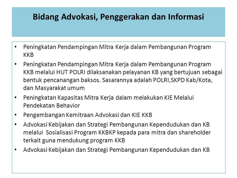 Bidang Advokasi, Penggerakan dan Informasi Peningkatan Pendampingan Mitra Kerja dalam Pembangunan Program KKB Peningkatan Pendampingan Mitra Kerja dal