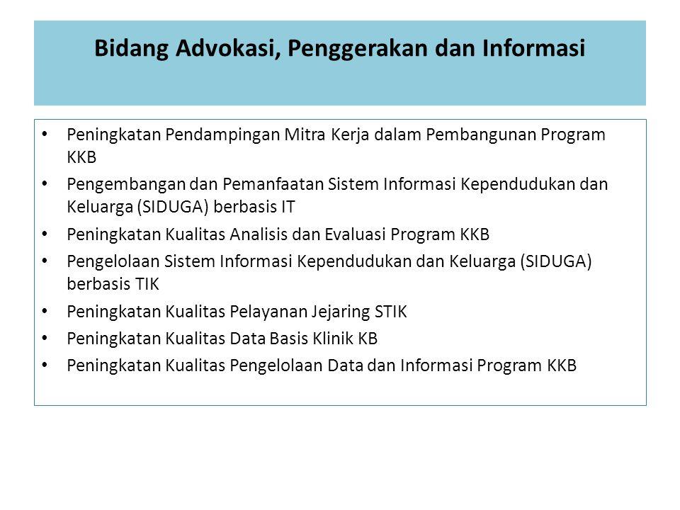 Bidang Advokasi, Penggerakan dan Informasi Peningkatan Pendampingan Mitra Kerja dalam Pembangunan Program KKB Pengembangan dan Pemanfaatan Sistem Info