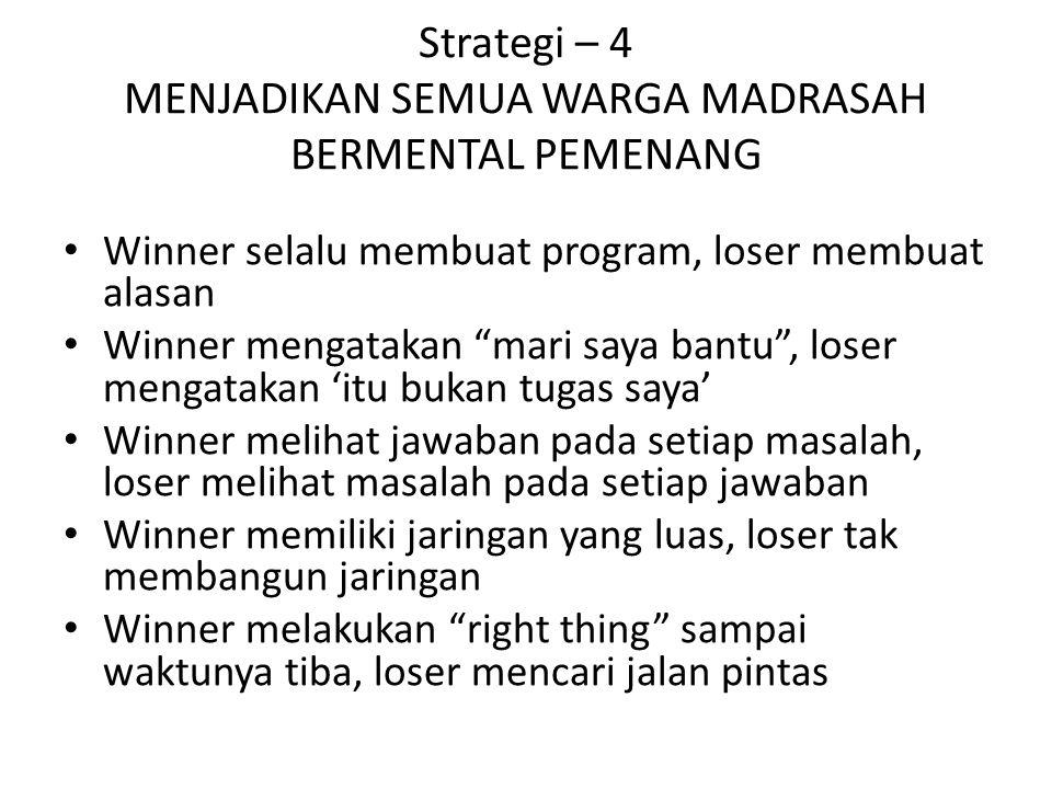 "Strategi – 4 MENJADIKAN SEMUA WARGA MADRASAH BERMENTAL PEMENANG Winner selalu membuat program, loser membuat alasan Winner mengatakan ""mari saya bantu"