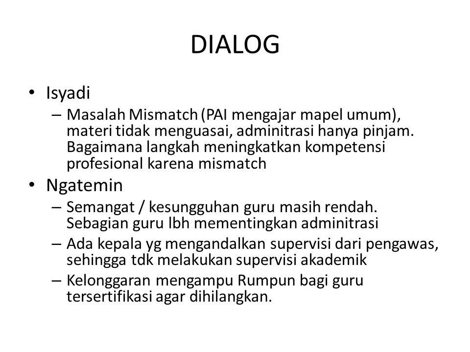 DIALOG Isyadi – Masalah Mismatch (PAI mengajar mapel umum), materi tidak menguasai, adminitrasi hanya pinjam. Bagaimana langkah meningkatkan kompetens
