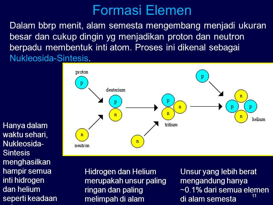 Formasi Elemen Dalam bbrp menit, alam semesta mengembang menjadi ukuran besar dan cukup dingin yg menjadikan proton dan neutron berpadu membentuk inti