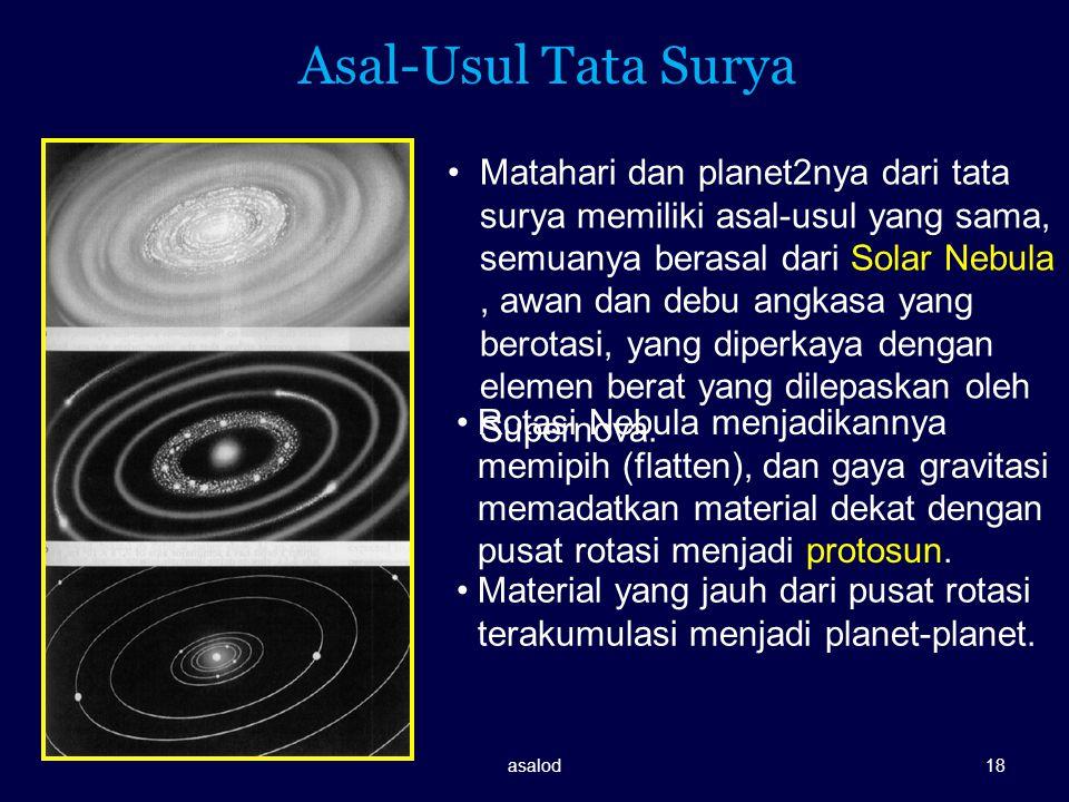 Asal-Usul Tata Surya Matahari dan planet2nya dari tata surya memiliki asal-usul yang sama, semuanya berasal dari Solar Nebula, awan dan debu angkasa y