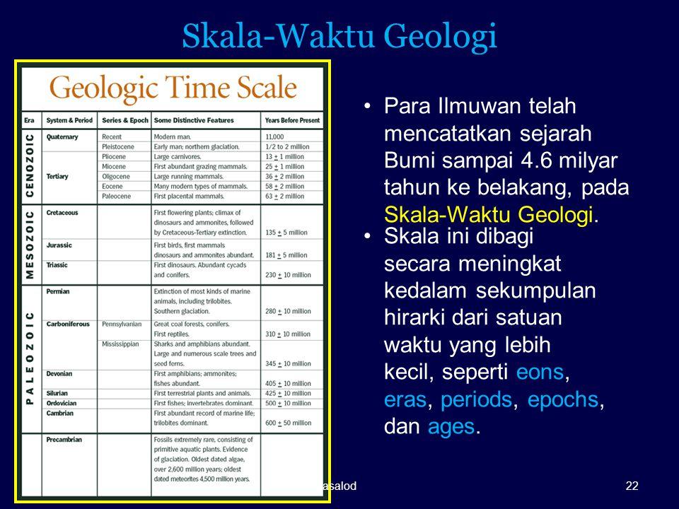 Skala-Waktu Geologi Para Ilmuwan telah mencatatkan sejarah Bumi sampai 4.6 milyar tahun ke belakang, pada Skala-Waktu Geologi. Skala ini dibagi secara