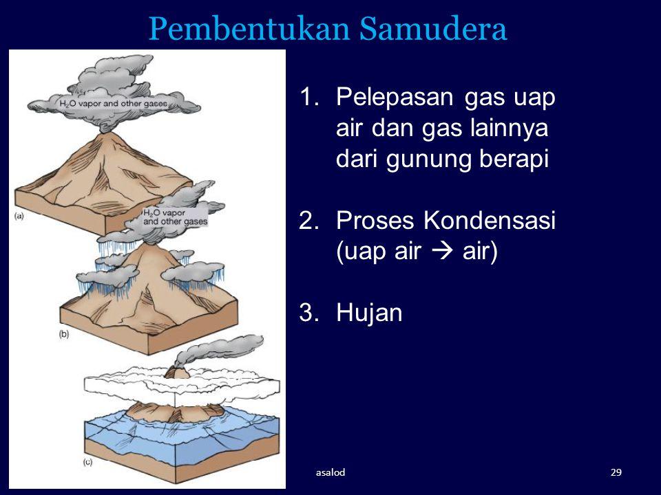 Pembentukan Samudera 1.Pelepasan gas uap air dan gas lainnya dari gunung berapi 2.Proses Kondensasi (uap air  air) 3.Hujan asalod29