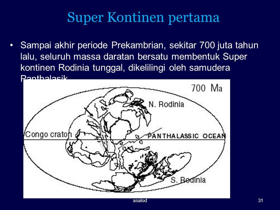 Super Kontinen pertama Sampai akhir periode Prekambrian, sekitar 700 juta tahun lalu, seluruh massa daratan bersatu membentuk Super kontinen Rodinia t