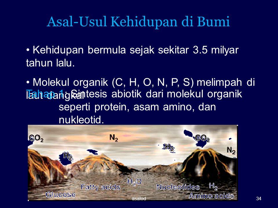 Kehidupan bermula sejak sekitar 3.5 milyar tahun lalu. Molekul organik (C, H, O, N, P, S) melimpah di laut dangkal Tahap 1: Sintesis abiotik dari mole