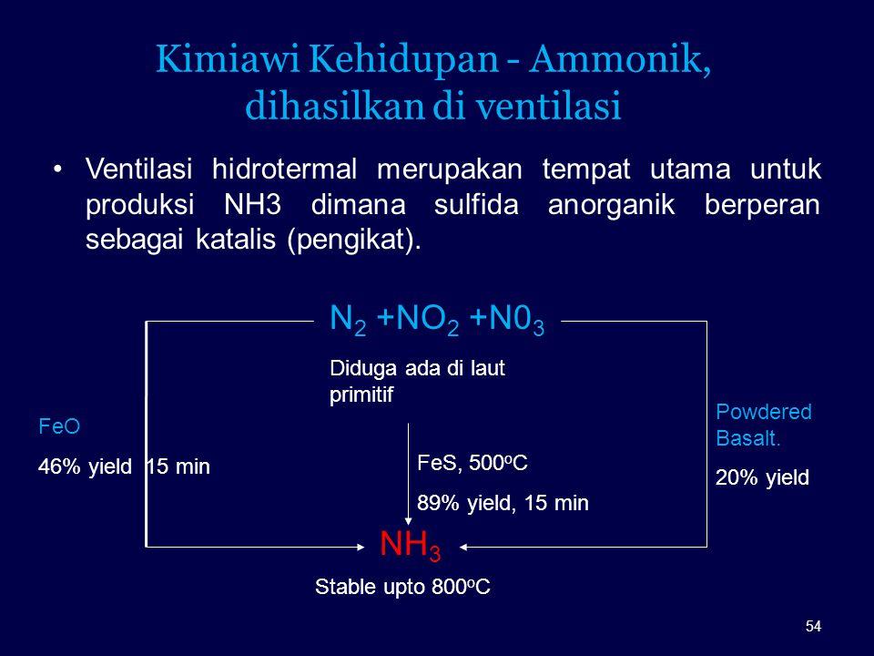 Kimiawi Kehidupan - Ammonik, dihasilkan di ventilasi Ventilasi hidrotermal merupakan tempat utama untuk produksi NH3 dimana sulfida anorganik berperan