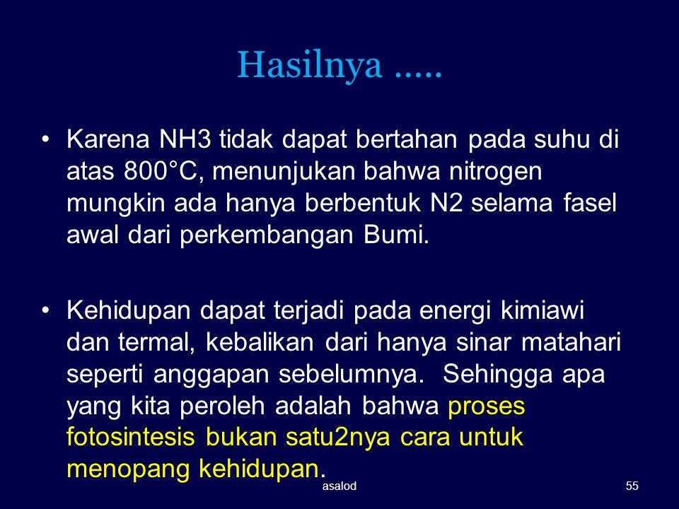 Hasilnya ….. Karena NH3 tidak dapat bertahan pada suhu di atas 800°C, menunjukan bahwa nitrogen mungkin ada hanya berbentuk N2 selama fasel awal dari