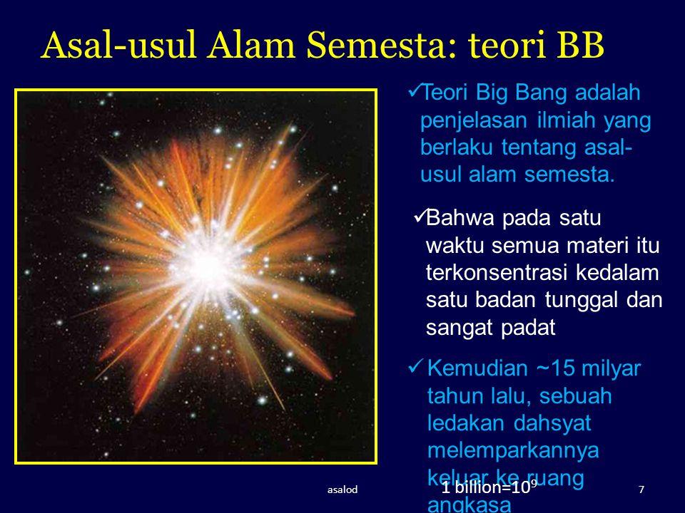 Dasar Utama ttg Teori BB a)Energi cahaya yang hasil radiasi galaxi, makin jauh makin rendah energi (shifting spektrum) b)Galaxi saling menjauhi karena ada ledakan c)Apa semua pernah berkumpul, tidak pasti.