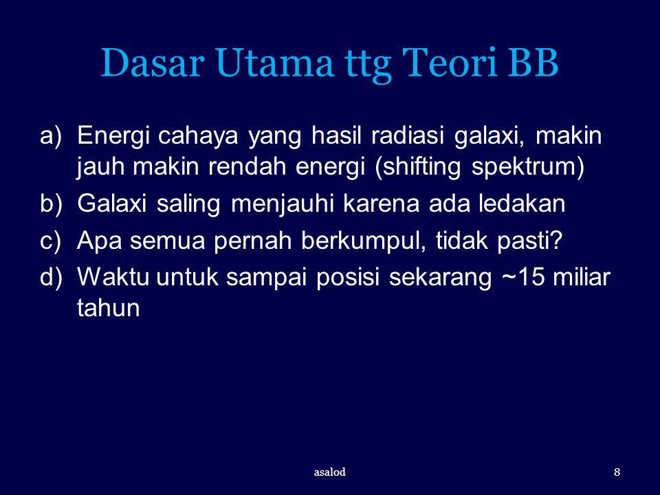 Dasar Utama ttg Teori BB a)Energi cahaya yang hasil radiasi galaxi, makin jauh makin rendah energi (shifting spektrum) b)Galaxi saling menjauhi karena
