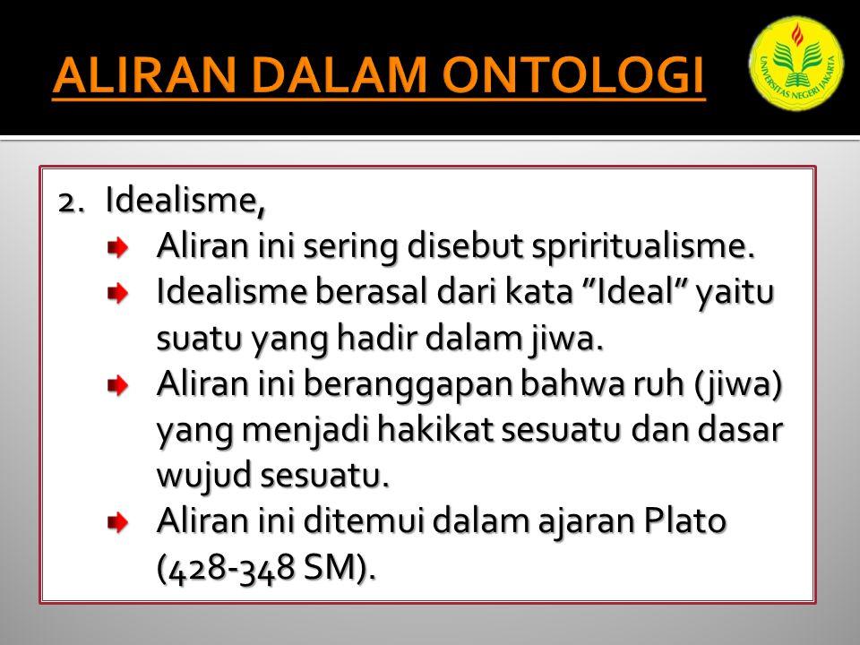 2.Idealisme, Aliran ini sering disebut spriritualisme.