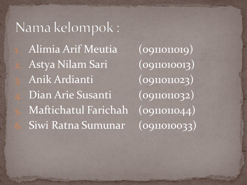 1.Alimia Arif Meutia(0911011019) 2. Astya Nilam Sari(0911010013) 3.