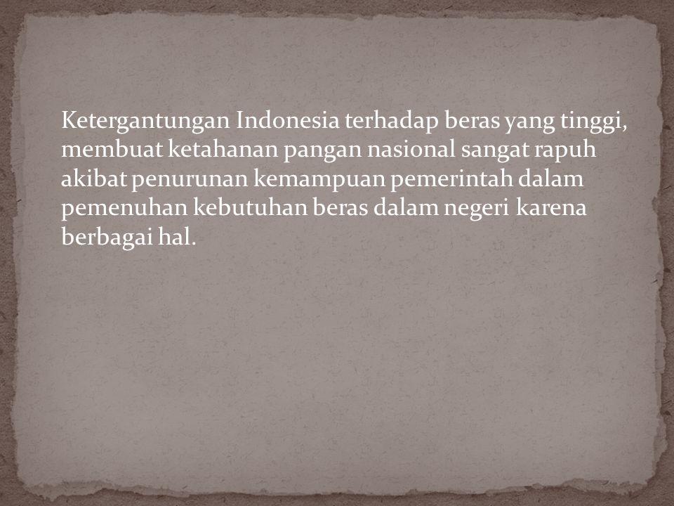 Selama ini pola pangan masyarakat Indonesia diarahkan pada komoditas tertentu saja, yaitu padi sebagai makanan pokok dan kedelai sebagai sumber protei