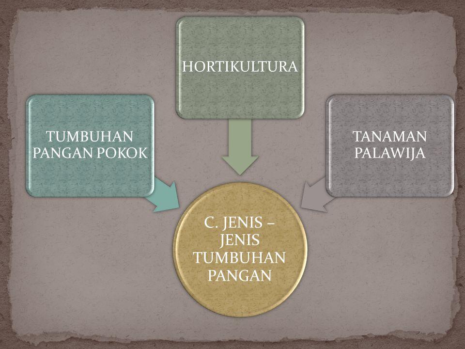 C. JENIS – JENIS TUMBUHAN PANGAN TUMBUHAN PANGAN POKOK HORTIKULTURA TANAMAN PALAWIJA