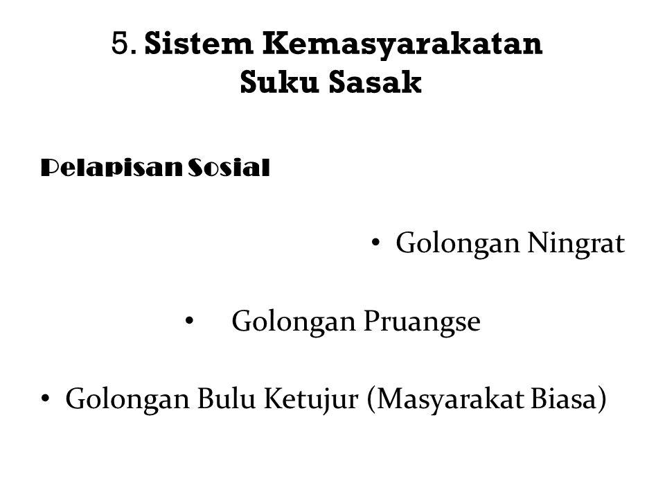 5. Sistem Kemasyarakatan Suku Sasak Pelapisan Sosial Golongan Ningrat Golongan Pruangse Golongan Bulu Ketujur (Masyarakat Biasa)