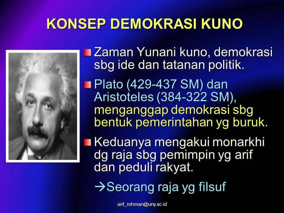 KONSEP DEMOKRASI KUNO Zaman Yunani kuno, demokrasi sbg ide dan tatanan politik.