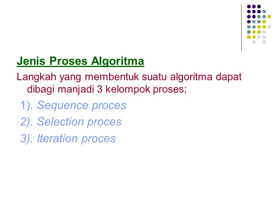 Jenis Proses Algoritma Langkah yang membentuk suatu algoritma dapat dibagi manjadi 3 kelompok proses; 1). Sequence proces 2). Selection proces 3). Ite