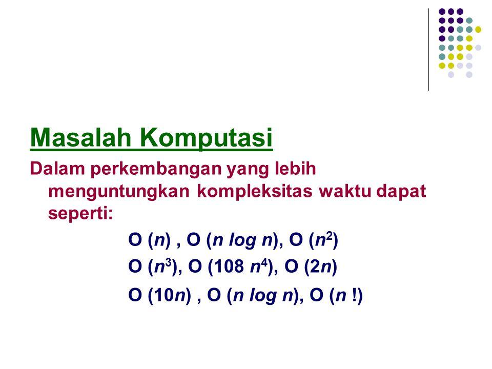 Masalah Komputasi Dalam perkembangan yang lebih menguntungkan kompleksitas waktu dapat seperti: Ο (n), Ο (n log n), Ο (n 2 ) Ο (n 3 ), Ο (108 n 4 ), Ο