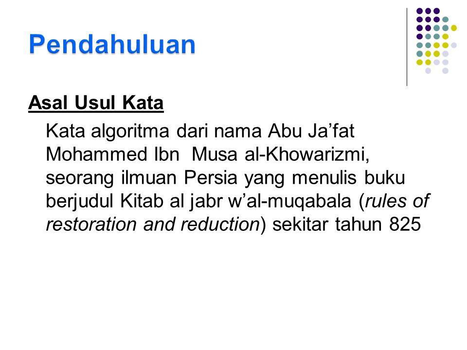 Asal Usul Kata Kata algoritma dari nama Abu Ja'fat Mohammed Ibn Musa al-Khowarizmi, seorang ilmuan Persia yang menulis buku berjudul Kitab al jabr w'a