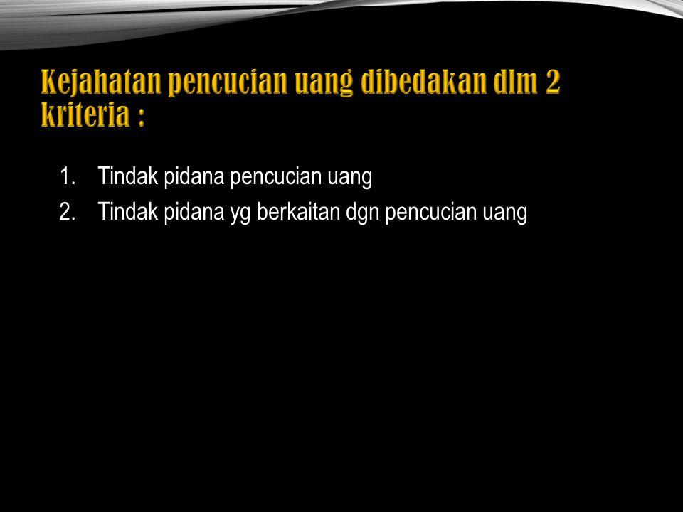 1. Placement : penempatan dana yg dihasilkan dr tindak kejahatan ke dalam sistem keuangan 2.