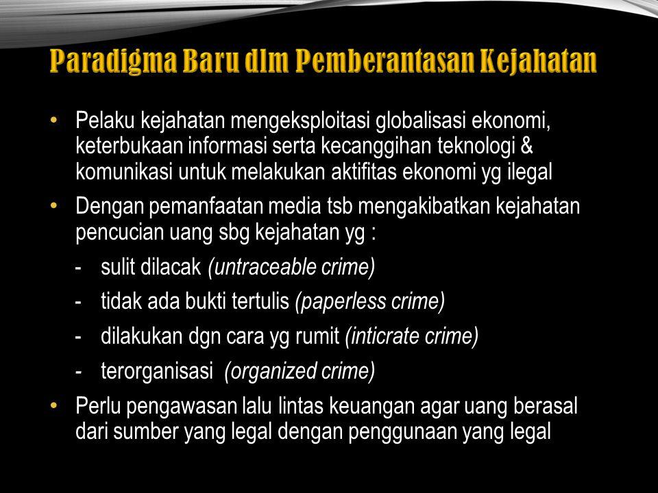 Kesepakatan dunia internasional tentang pelarangan kejahatan ini tertuang dalam United Nation Convention Against Illicit Traffic in Narcotics, Drugs & Psycotropic Substances of 1988, yg.biasa disebut UN Drugs Convention 1988 yg mewajibkan para anggotanya untuk menyatakan pidana terhadap pelaku tindakan tertentu yg berhubungan dgn narkotika & money laundering Indonesia telah melakukan kriminalisasi thd pencucian uang sejak awal 2002 dgn diundangkannya UU No.12 tahun 2002 ttg Tindak Pidana Pencucian Uang dan diamandemen dgn UU No 25 Tahun 2003