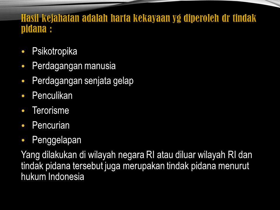 Psikotropika Perdagangan manusia Perdagangan senjata gelap Penculikan Terorisme Pencurian Penggelapan Yang dilakukan di wilayah negara RI atau diluar wilayah RI dan tindak pidana tersebut juga merupakan tindak pidana menurut hukum Indonesia