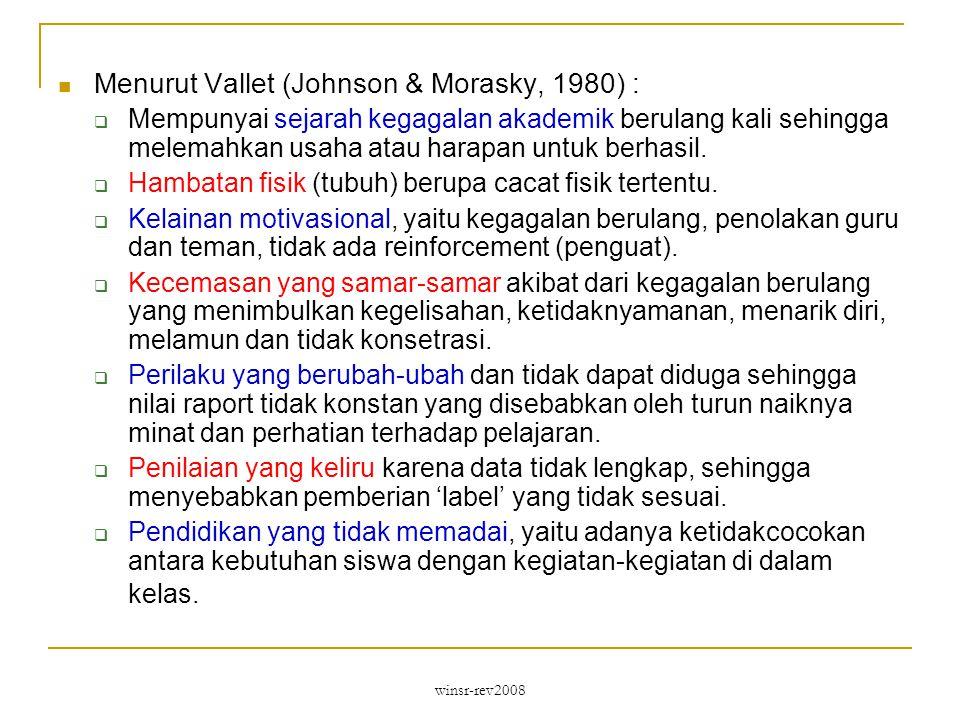 winsr-rev2008 Menurut Vallet (Johnson & Morasky, 1980) :  Mempunyai sejarah kegagalan akademik berulang kali sehingga melemahkan usaha atau harapan untuk berhasil.