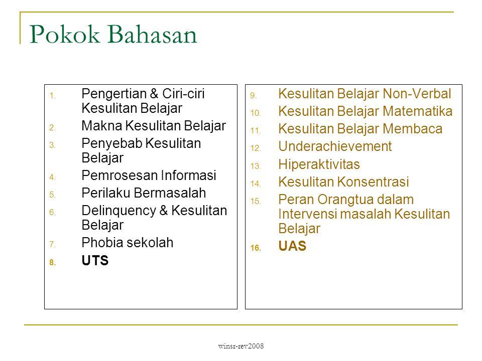 winsr-rev2008 Pokok Bahasan 1.Pengertian & Ciri-ciri Kesulitan Belajar 2.