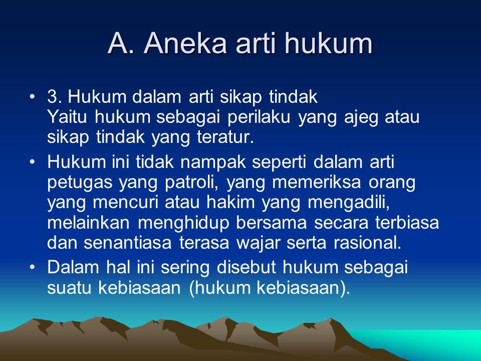 A.Aneka arti hukum 4. Hukum dalam arti sistem kaidah adalah : a.