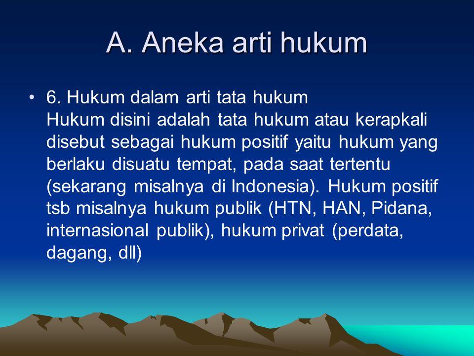 A.Aneka arti hukum 7.