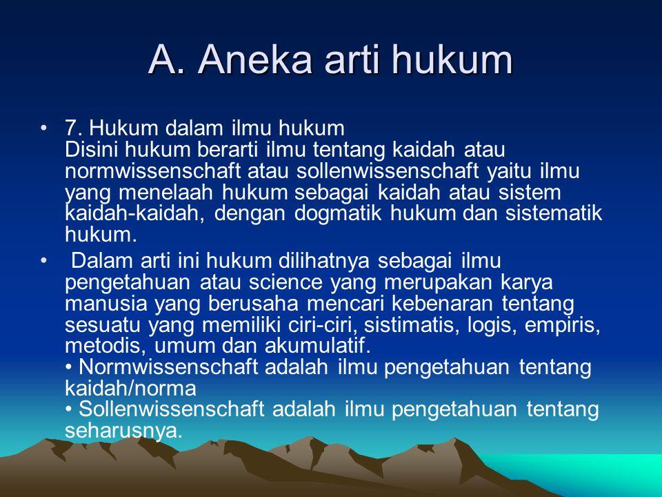 A.Aneka arti hukum 8.