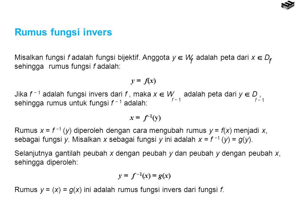 Rumus fungsi invers y = f(x) ff f  1 x = f  1 (y) y = f  1 (x) = g(x) Misalkan fungsi f adalah fungsi bijektif. Anggota y  W adalah peta dari x 