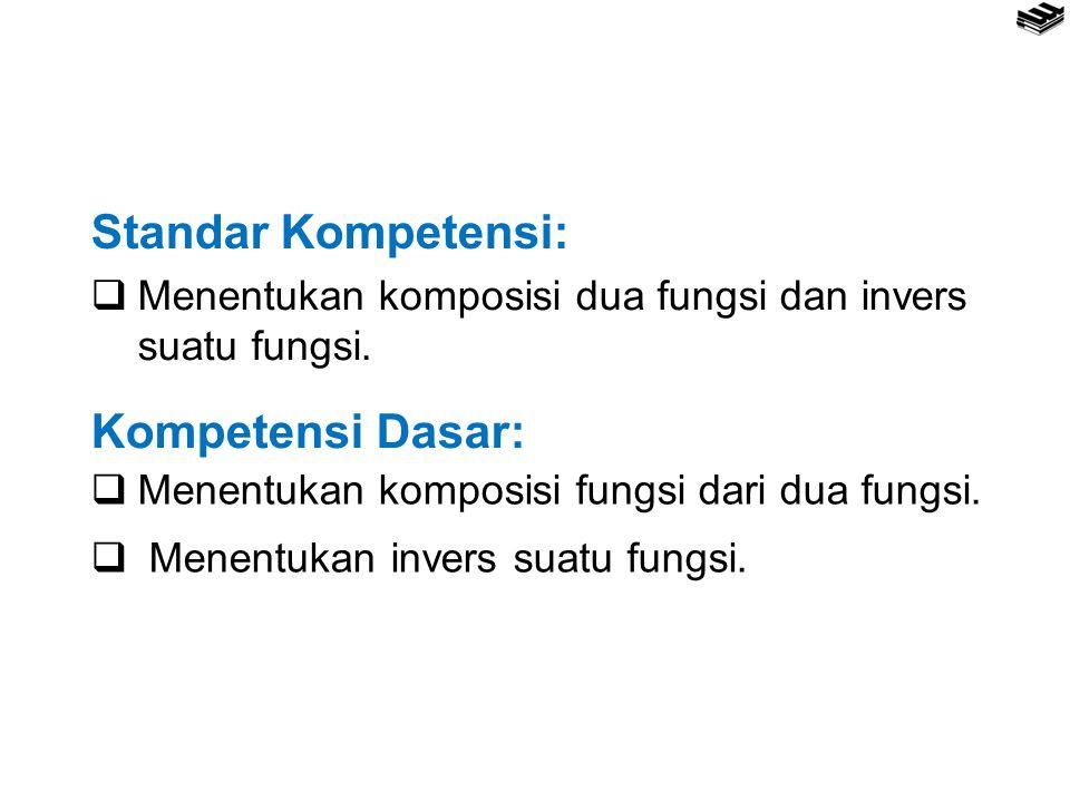 Standar Kompetensi:  Menentukan komposisi dua fungsi dan invers suatu fungsi. Kompetensi Dasar:  Menentukan komposisi fungsi dari dua fungsi.  Mene