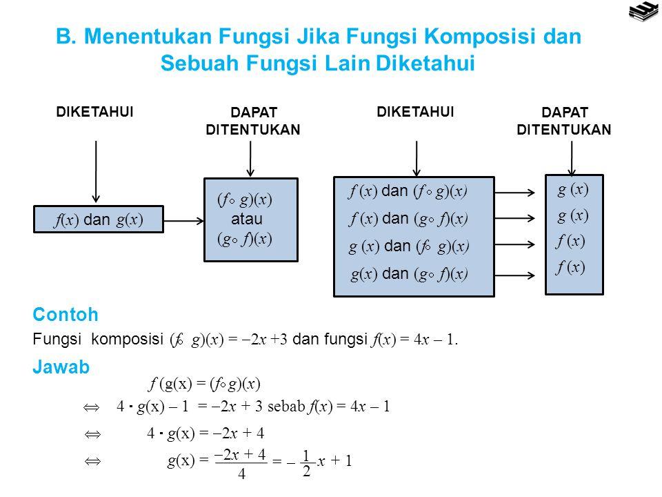 B. Menentukan Fungsi Jika Fungsi Komposisi dan Sebuah Fungsi Lain Diketahui f(x) dan g(x)g(x) (f g)(x) atau (g f)(x)   f (x) dan (f g)(x)  f (x) da