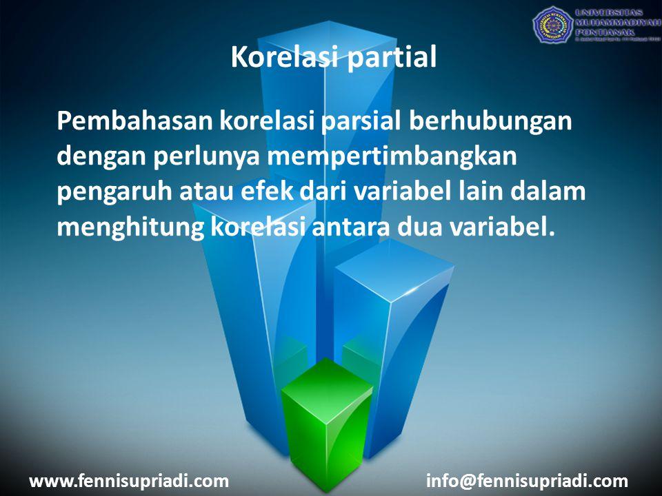Korelasi partial Pembahasan korelasi parsial berhubungan dengan perlunya mempertimbangkan pengaruh atau efek dari variabel lain dalam menghitung korel