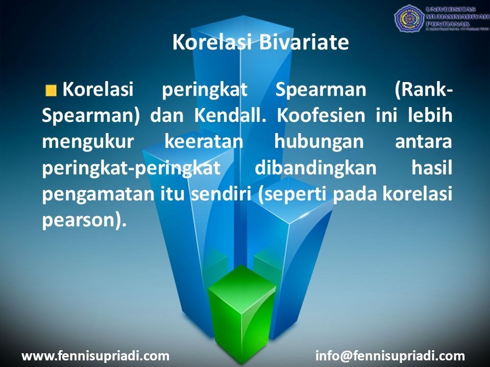 Korelasi Bivariate Korelasi peringkat Spearman (Rank- Spearman) dan Kendall.