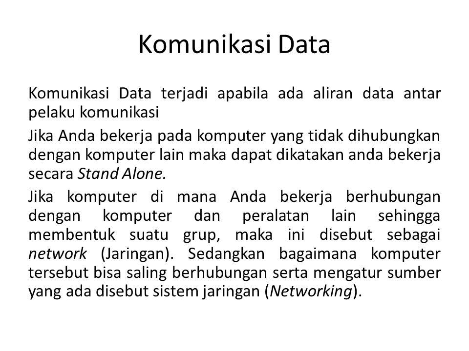 Komunikasi Data Komunikasi Data terjadi apabila ada aliran data antar pelaku komunikasi Jika Anda bekerja pada komputer yang tidak dihubungkan dengan komputer lain maka dapat dikatakan anda bekerja secara Stand Alone.