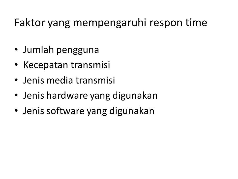 Faktor yang mempengaruhi respon time Jumlah pengguna Kecepatan transmisi Jenis media transmisi Jenis hardware yang digunakan Jenis software yang digun