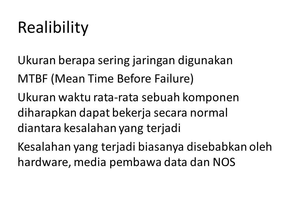 Realibility Ukuran berapa sering jaringan digunakan MTBF (Mean Time Before Failure) Ukuran waktu rata-rata sebuah komponen diharapkan dapat bekerja secara normal diantara kesalahan yang terjadi Kesalahan yang terjadi biasanya disebabkan oleh hardware, media pembawa data dan NOS