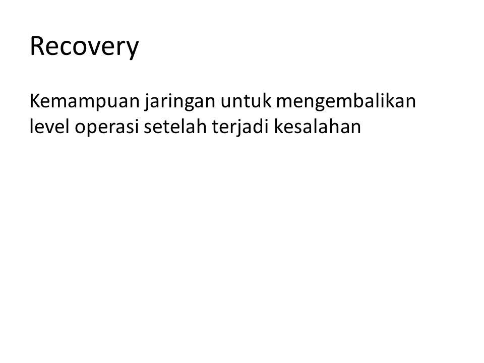 Recovery Kemampuan jaringan untuk mengembalikan level operasi setelah terjadi kesalahan